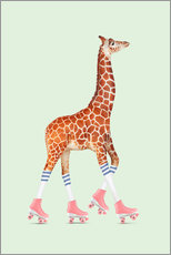 Wall sticker ROLLERSKATE GIRAFFE