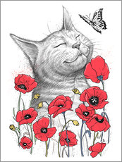 Gallery print  Cat in poppies - Nikita Korenkov