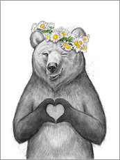 Wall sticker  Girl bear with heart - Nikita Korenkov