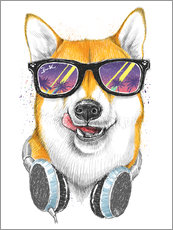 Wall sticker  Siba inu in glasses - Nikita Korenkov