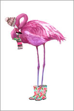 Wall Sticker  Pink flamingo with rubber boots - Kidz Collection