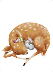 Wall sticker  Fawn and baby bunny - Kidz Collection