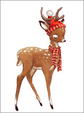 Wall sticker Winter deer with scarf and hat