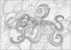 Colouring posters  Octopus