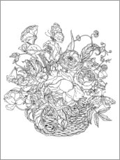 Colouring posters  Flower basket