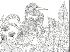 Colouring poster  Heron between flowers