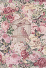 Wall sticker Vintage Bird Cage And Roses