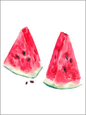 watercolor slices of watermelon