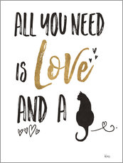 Wall sticker  All you need is love and a cat - Veronique Charron