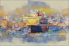 Gallery print  Hamburg Queen Mary II, in the background the Elbphilharmonie - Peter Roder