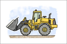 Gallery print  Hugos wheel loader - Hugos Illustrations