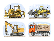 Wall sticker  Hugo's construction site - Hugos Illustrations