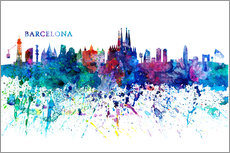 Wall Stickers  Skyline BARCELONA Colorful Silhouette - M. Bleichner