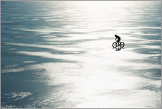 Gallery print  Man cycling on a frozen lake - Johner