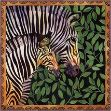 Wall sticker  Two zebras against leaves