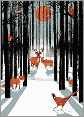 Gallery print  Animals in the winter forest - Ikon Images