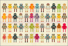 Wall sticker Toy robots in a row