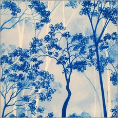 Wall sticker  Forest in azure blue - Herb Dickinson