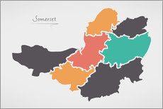 Wall sticker Somerset county map modern abstract with round shapes