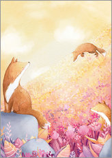 Gallery print  Foxes and summer flowers - Rebecca Richards