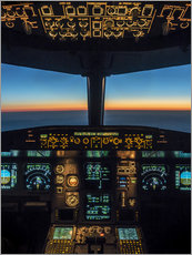Gallery print  A320 cockpit at twilight - Ulrich Beinert