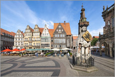 Gallery print  Historic Market Square in Bremen with Roland Statue - Jan Christopher Becke