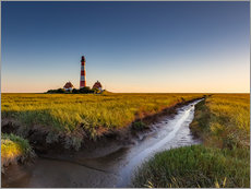 Gallery print  Lighthouse Westerhever in the evening light - Heiko Mundel