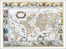 Wall sticker  World map around 1630 - Joan Blaeu