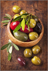 Wall sticker  Bowl with olives on a wooden table - Elena Schweitzer
