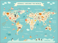 Gallery print  World map with animals (English) - Kidz Collection