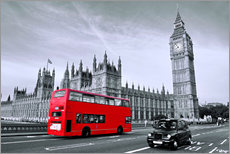 Wall sticker  Red bus on Westminster Bridge, London - Art Couture