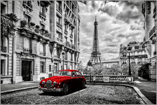 Wall sticker  Paris in black and white with red car - Art Couture