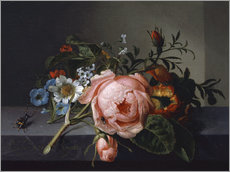 Gallery print  Still Life with Rose Branch, Beetle and Bee - Rachel Ruysch