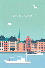 Wood print  Illustration of Stockholm - Katinka Reinke