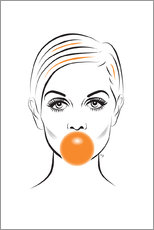 Canvas print  Twiggy with bubble gum - Martina illustration