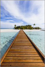 Premium poster Jetty to dream island in the Maldives