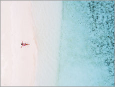 Premium poster Aerial view of woman on a tropical beach