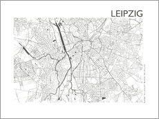 Acrylic print  Leipzig map in steel gray - 44spaces