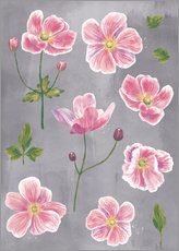 Wood print  Japanese Anemones - Nic Squirrell