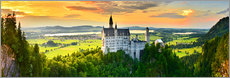 Alu-Dibond  Neuschwanstein in the sunset - Art Couture