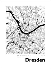 Wood print  City map of Dresden - 44spaces
