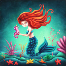 Premium poster  Mermaid and little seahorse - Elena Schweitzer