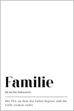 Wood print  Familie Definition (German) - Pulse of Art