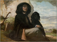 Premium poster Courbet with his black dog