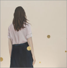 Premium poster Golden dots (polka dots) - back view of a young woman