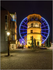 Acrylic print  Castle tower in Dusseldorf with blue ferris wheel - Michael Valjak