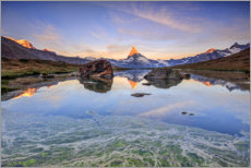 Canvas print  The Matterhorn is reflected in the Stellisee - Roberto Sysa Moiola