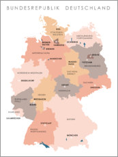Wood print  Federal states and capital cities of the federal republic of Germany