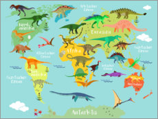 Wood print  World map of Dinosaurs - Kidz Collection