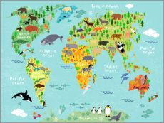 Wood print  Animal Worldmap - Kidz Collection
